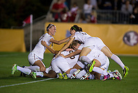 Dagny Brynjarsdottir, Jamia Fields, Megan Campbell. Florida State defeated Virginia Tech, 3-2,  at the NCAA Women's College Cup semifinals at WakeMed Soccer Park in Cary, NC.