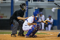 Kingsport Mets catcher Patrick Mazeika (19) sets a target as home plate umpire Garon Keuten looks on during the game against the Elizabethton Twins at Hunter Wright Stadium on July 9, 2015 in Kingsport, Tennessee.  The Twins defeated the Mets 9-7 in 11 innings. (Brian Westerholt/Four Seam Images)