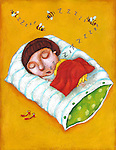 Illustration of girl sleeping on pillow over yellow background