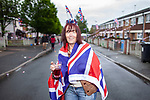 © Joel Goodman - 07973 332324 . 03/06/2012 . Manchester , UK . Eileen Stack , 56 at a Jubilee party featuring the residents of Farnborough Road , Winstandley Road end , Miles Platting , as streets are closed for street parties for the Queen's Diamond Jubilee celebrations . Photo credit : Joel Goodman