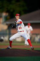 Auburn Doubledays starting pitcher Jackson Tetreault (45) delivers a pitch during a game against the Connecticut Tigers on August 10, 2017 at Falcon Park in Auburn, New York.  Connecticut defeated Auburn 4-1.  (Mike Janes/Four Seam Images)