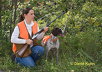 0801-0831  German Wirehaired Pointer with Owner Bird Hunting, Canis lupus familiaris © David Kuhn/Dwight Kuhn Photography