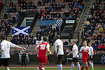 Edinburgh City 1 Brora Rangers 1, 25/04/2015. Commonwealth Stadium, Pyramid play-off 1st leg. Spectators watching the first half action during the first-ever pyramid play-off match between Edinburgh City (white shirts) and Brora Rangers at the Commonwealth Stadium, Meadowbank. Lowland League champions Edinburgh City and Highland League champions Brora both progressed to a play-off to decide whether there would be a club promoted to the Scottish League for the first time in its history. The match ended in a 1-1 draw, the second leg was held the following week in Brora. Photo by Colin McPherson.