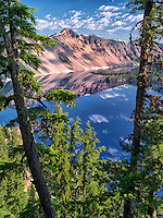 Crater Lake reflection and The Watchman peak. Crater Lake National Park, Oregon