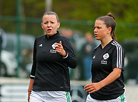 Hannah Eurlings (9) of OHL and Luna Vanzeir (10) of OHL pictured during the warm up before a female soccer game between Oud Heverlee Leuven and Standard femina de liege on the 5 th matchday of play off 1 in the 2020 - 2021 season of Belgian Womens Super League , saturday 8 th of May 2021  in Heverlee , Belgium . PHOTO SPORTPIX.BE | SPP | SEVIL OKTEM