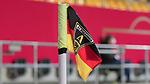 v.li.: Eine Eckfahne, Fahnentuch, Fahne in schwarz-rot-gelb, gold mit dem Vereinslogo, Wappen, Logo von Alemannia Aachen, DIE DFB-RICHTLINIEN UNTERSAGEN JEGLICHE NUTZUNG VON FOTOS ALS SEQUENZBILDER UND/ODER VIDEOÄHNLICHE FOTOSTRECKEN. DFB REGULATIONS PROHIBIT ANY USE OF PHOTOGRAPHS AS IMAGE SEQUENCES AN/OR QUASI-VIDEO., 21.02.2021, Aachen (Deutschland), Fussball, Länderspiel Frauen, Deutschland - Belgien <br /> <br /> Foto © PIX-Sportfotos *** Foto ist honorarpflichtig! *** Auf Anfrage in hoeherer Qualitaet/Aufloesung. Belegexemplar erbeten. Veroeffentlichung ausschliesslich fuer journalistisch-publizistische Zwecke. For editorial use only.
