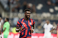 KANSAS CITY, KS - JULY 15: Daryl Dike #11 of the United States scores a goal and celebrates during a game between Martinique and USMNT at Children's Mercy Park on July 15, 2021 in Kansas City, Kansas.