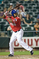 Outfielder Joey Butler #17 of the Round Rock Express at bat against the Oklahoma City RedHawks on April 26, 2011 at the Dell Diamond in Round Rock, Texas. (Photo by Andrew Woolley / Four Seam Images)