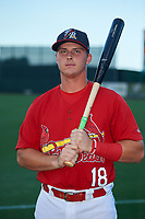 Palm Beach Cardinals Nolan Gorman (18) poses for a photo before a Florida State League game against the Clearwater Threshers on August 8, 2019 at Roger Dean Chevrolet Stadium in Jupiter, Florida.  The game was postponed due to inclement weather.  (Mike Janes/Four Seam Images)