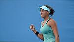 Madison Keys (USA) defeats Jie Zheng (CHN) at the Australian Open in Melbourne Australia on January 15, 2014.  Keys won, 7-6, 1-6, 7-5.