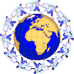 Men with envelops forming a chain around a globe