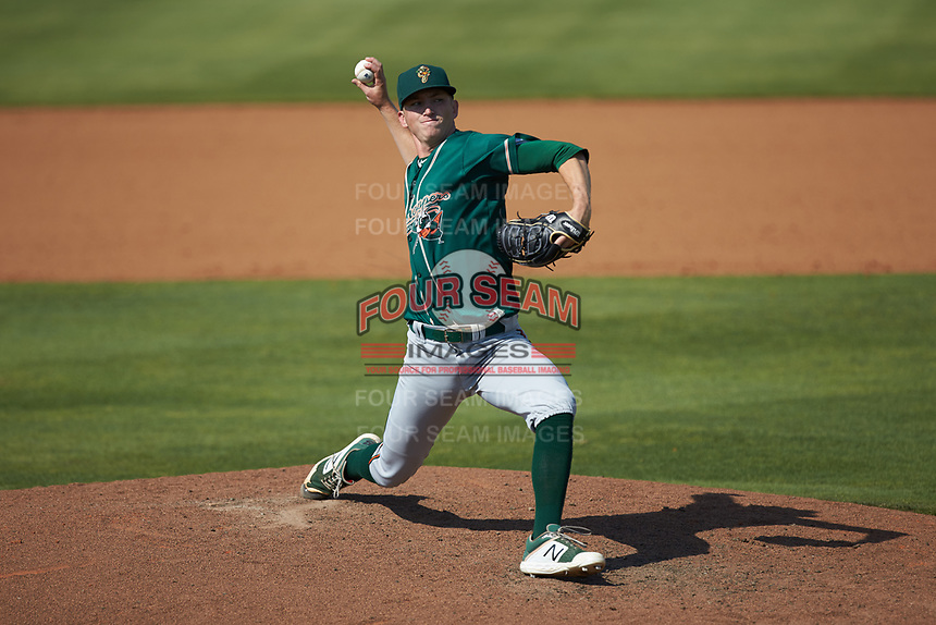 Greensboro Grasshoppers relief pitcher John O'Reilly (31) in action against the Piedmont Boll Weevils at Kannapolis Intimidators Stadium on June 16, 2019 in Kannapolis, North Carolina. The Grasshoppers defeated the Boll Weevils 5-2. (Brian Westerholt/Four Seam Images)