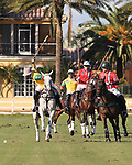 WELLINGTON, FL - NOVEMBER 25:  Caio Mello, Brazil, (yellow), takes the ball down the field as Team USA defeats Team Brazil 9 - 7 in the final of the USPA International Cup at the Grand Champions Polo Club, on November 25, 2017 in Wellington, Florida. (Photo by Liz Lamont/Eclipse Sportswire/Getty Images)