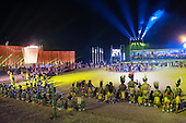 Members of many ethnic groups take part in the opening ceremony in the Green Arena at the International Indigenous Games in Brazil. 23rd October 2015