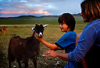 """Rowan, a five-year-old autistic child, playing with a goat during a horseback expedition across Mongolia. Rowan, who has been nicknamed """"The Horse Boy"""", embarked on a therapeutic journey of discovery with his parents to visit a succession of shaman healers in one of the most remote regions in the world. Following Rowan's positive response to a neighbour's horse, Betsy, and some reaction to treatment by healers, Rowan's parents hoped that the Mongolian shamanistic rituals along the route and the prolonged contact with horses would help to unlock their son's autism and assist his development.."""