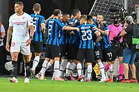 21st August 2020, Rheinenergiestadion, Cologne, Germany; Europa League Cup final Sevilla versus Inter Milan;  Milan's players elebrate their goal for the 0:1 through a Lukaku penalty kick