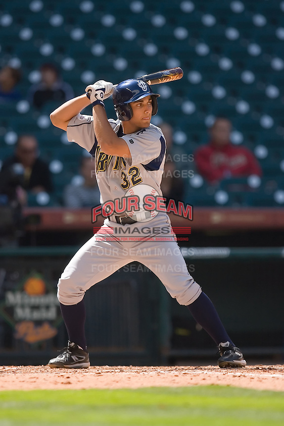 DJ Crumlich #32 of the UC-Irvine Anteaters at bat versus the Houston Cougars in the 2009 Houston College Classic at Minute Maid Park February 28, 2009 in Houston, TX.  The Anteaters defeated the Cougars 13-7. (Photo by Brian Westerholt / Four Seam Images)