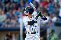 Drew Waters (11) of the Gwinnett Stripers at bat against the Scranton/Wilkes-Barre RailRiders at Coolray Field on August 17, 2019 in Lawrenceville, Georgia. The Stripers defeated the RailRiders 8-7 in eleven innings. (Brian Westerholt/Four Seam Images)
