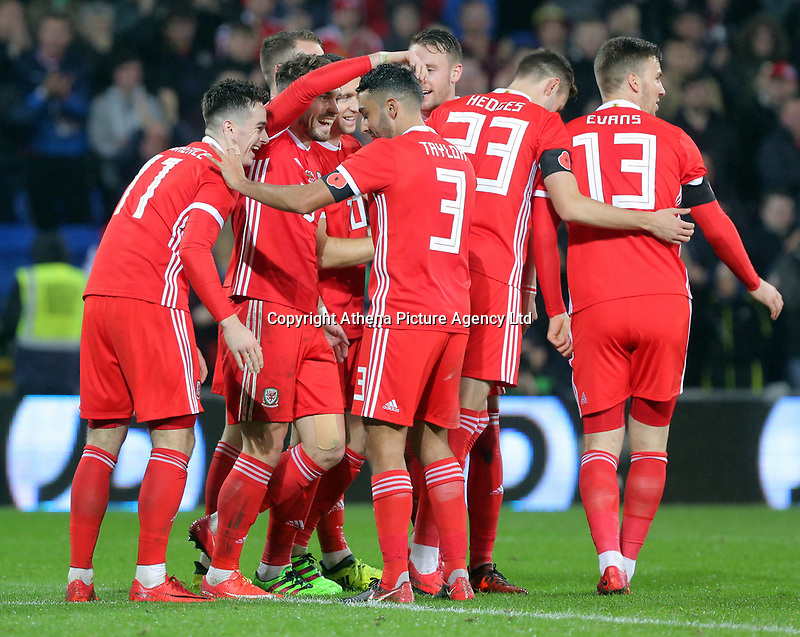 Tom Lawrence of Wales (R) celebrates his goal with team mates during the international friendly soccer match between Wales and Panama at Cardiff City Stadium, Cardiff, Wales, UK. Tuesday 14 November 2017.