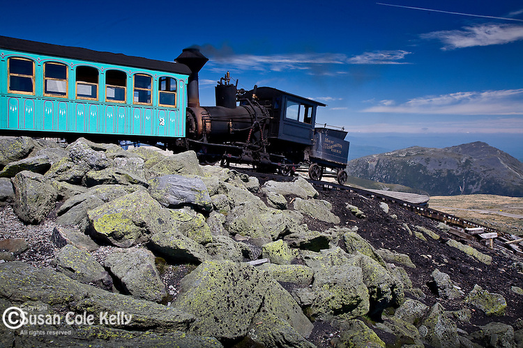The Cog Railway brings visitors to Mount Washington, in the White Mountain National Forest, NH, USA