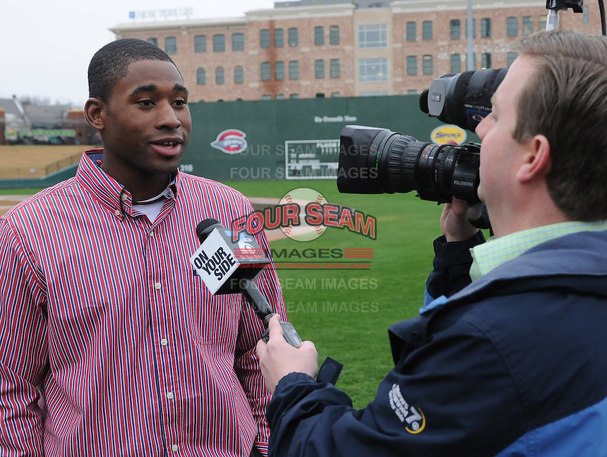 Red Sox Minor League outfielder and former University of South Carolina Gamecock Jackie Bradley Jr. talks with reporters on January 23, 2012, at Fluor Field at the West End in Greenville, South Carolina. Bradley was in town for the annual Greenville Drive Hot Stove Event. He was a top pick of the Boston Red Sox in the 2011 draft and played briefly in the Sox' Minor League system late in the 2011 season. (Tom Priddy/Four Seam Images)