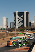 Brasilia, Brazil. Banco do Brasil headquarter building. Buses.