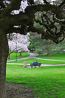 Couple on bench at Oregon State Capitol grounds. Salem, Oregon