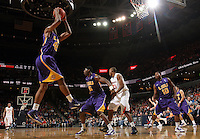 Jan. 2, 2011; Charlottesville, VA, USA; LSU Tigers guard Aaron Dotson (45) grabs the rebound during the game against the Virginia Cavaliers at the John Paul Jones Arena. Virginia won 64-50. Mandatory Credit: Andrew Shurtleff-