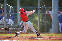 Ball State Cardinals pinch hitter Griffin Hulecki (13) bats during a game against the Mount St. Mary's Mountaineers on March 9, 2019 at North Charlotte Regional Park in Port Charlotte, Florida.  Ball State defeated Mount St. Mary's 12-9.  (Mike Janes/Four Seam Images)