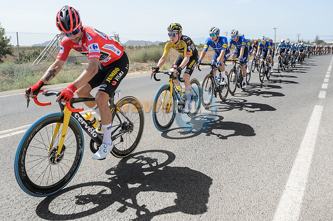 Race leader Primoz Roglic (SLO) Jumbo-Visma safely in the peloton during Stage 8 of La Vuelta d'Espana 2021, running 173.7km from Santa Pola to La Manga del Mar Menor, Spain. 21st August 2021.     <br /> Picture: Cxcling | Cyclefile<br /> <br /> All photos usage must carry mandatory copyright credit (© Cyclefile | Cxcling)
