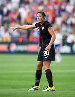 Abby Wambach (20) of the USWNT talks to her teammates during the game at WakeMed Soccer Park in Cary, NC.   The USWNT defeated Japan, 2-0..