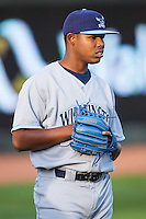 Wilmington Blue Rocks starting pitcher Miguel Almonte (27) prior to the game against the Winston-Salem Dash at BB&T Ballpark on April 3, 2014 in Winston-Salem, North Carolina.  The Blue Rocks defeated the Dash 3-1.  (Brian Westerholt/Four Seam Images)