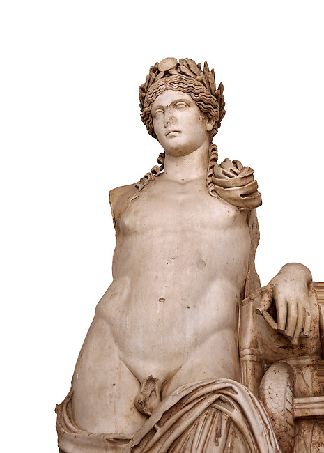Detail of a second Century Roman statue of Apollo excavated from the Theatre of Carthage. The Bardo National Museum, Tunis, Tunisia. Inv No C939. Against a white background.