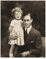 BNPS.co.uk (01202 558833)<br /> Pic: MarcusAdams/ChiswickAuctions/BNPS<br /> <br /> Princess Elizabeth  with her father George in 1933.<br /> <br /> Charming childhood photos of Princess Elizabeth and Princess Margaret have come to light, including a previously unseen image of the future Queen in a kilt.<br /> <br /> The portraits, taken by acclaimed British society photographer Marcus Adams, capture the future Queen from being a baby to her adolescence.<br /> <br /> The Queen Mother would often take her daughters to his central London studio where he would set up toys and props to keep them entertained