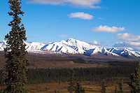 View of mountains overlooking Sanctuary River in Denali National Park.