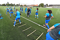 players of KRC Genk  pictured during the warming up of a female soccer game between SV Zulte - Waregem and KRC Genk on the second matchday of the 2021 - 2022 season of Belgian Scooore Womens Super League , saturday 28 of August 2021  in Zulte , Belgium . PHOTO SPORTPIX   DIRK VUYLSTEKE