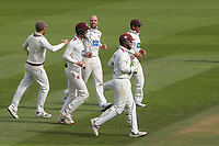 Somerset bowler, Jack Leach celebrates taking his fifth wicket as he runs towards Devon Conway to congratulate him after taking the catch to dismiss Surrey's Ryan Patel during Surrey CCC vs Somerset CCC, LV Insurance County Championship Group 2 Cricket at the Kia Oval on 13th July 2021