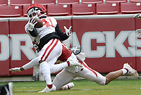 Arkansas running back T.J. Hammonds (41) is brought down at the goal line Saturday, April 3, 2021, by defensive back LaDarrius Bishop during a scrimmage at Razorback Stadium in Fayetteville. Visit nwaonline.com/210404Daily/ for today's photo gallery. <br /> (NWA Democrat-Gazette/Andy Shupe)