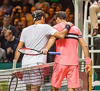 Rotterdam, The Netherlands, 18 Februari, 2018, ABNAMRO World Tennis Tournament, Ahoy, Singles final, Roger Federer (SUI) is congratulated by  Grigor Dimitrov (BUL) (R)<br /> <br /> Photo: www.tennisimages.com