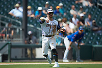 Charlotte Knights third baseman Danny Mendick (17) makes a throw to first base against the Durham Bulls at BB&T BallPark on May 27, 2019 in Charlotte, North Carolina. The Bulls defeated the Knights 10-0. (Brian Westerholt/Four Seam Images)