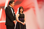 Takeo Hisamatsu, Festival Director Kanna Hashimoto, Tokyo International Film Festival Ambassador  appears on the opening red carpet for The 30th Tokyo International Film Festival in Roppongi on October 25th, 2017, in Tokyo, Japan. The festival runs from October 25th to November 3rd at venues in Tokyo. (Photo by Michael Steinebach/AFLO)