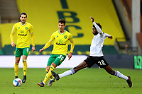 20th February 2021; Carrow Road, Norwich, Norfolk, England, English Football League Championship Football, Norwich versus Rotherham United; Matthew Olosunde of Rotherham United challenges Dimitris Giannoulis of Norwich City