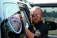 Aug. 3, 2014; Kent, WA, USA; NHRA top fuel dragster driver Shawn Langdon during the Northwest Nationals at Pacific Raceways. Mandatory Credit: Mark J. Rebilas-