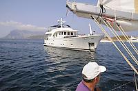 - large luxury yacht off the coast of Sardinia....- grande yacht di lusso al largo della costa sarda