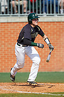 Patric King (28) of the Charlotte 49ers follows through on his swing against the Canisius Golden Griffins at Hayes Stadium on February 23, 2014 in Charlotte, North Carolina.  The Golden Griffins defeated the 49ers 10-1.  (Brian Westerholt/Four Seam Images)