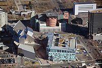 aerial photograph of the Denver Art Museum (front) and Denver Public library (back) Frederic C. Hamilton building,  Daniel Libeskind and Michael Graves architects of the respective structures, Denver, Colorado