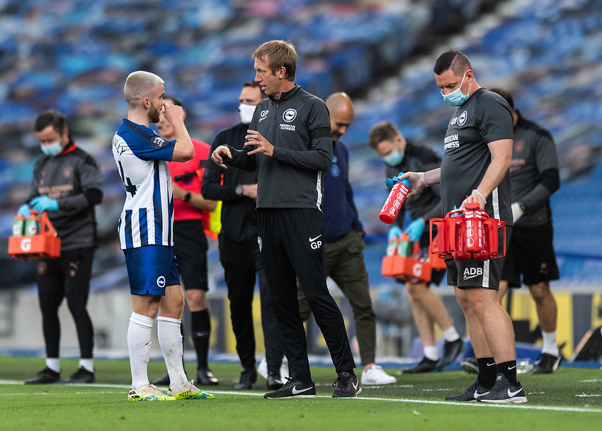 Brighton & Hove Albion Head Coach Graham Potter (right) giving instructions to Brighton & Hove Albion's Shane Duffy (left) from the technical area<br /> <br /> Photographer David Horton/CameraSport<br /> <br /> The Premier League - Brighton & Hove Albion v Manchester City - Saturday 11th July 2020 - The Amex Stadium - Brighton<br /> <br /> World Copyright © 2020 CameraSport. All rights reserved. 43 Linden Ave. Countesthorpe. Leicester. England. LE8 5PG - Tel: +44 (0) 116 277 4147 - admin@camerasport.com - www.camerasport.com