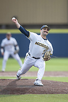 Michigan Wolverines pitcher Joe Pace (32) delivers a pitch to the plate against the Michigan State Spartans on March 22, 2021 in NCAA baseball action at Ray Fisher Stadium in Ann Arbor, Michigan. Michigan State beat the Wolverines 3-0. (Andrew Woolley/Four Seam Images)
