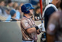 St. Paul Saints catcher Caleb Hamilton (9) during a game against the Omaha Storm Chasers on September 7, 2021 at CHS Field in St. Paul, Minnesota.  (Brace Hemmelgarn/Four Seam Images)