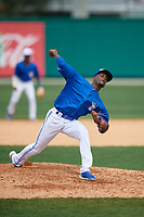 Dunedin Blue Jays relief pitcher Dany Jimenez (43) during a Florida State League game against the Clearwater Threshers on April 7, 2019 at Jack Russell Memorial Stadium in Clearwater, Florida.  Dunedin defeated Clearwater 2-1.  (Mike Janes/Four Seam Images)